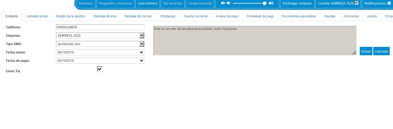 Gestion Deudor Pantalla Enviar SMS – Gestion Morosos